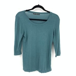 Peruvian Connection Small Teal Tops Scoop Neck